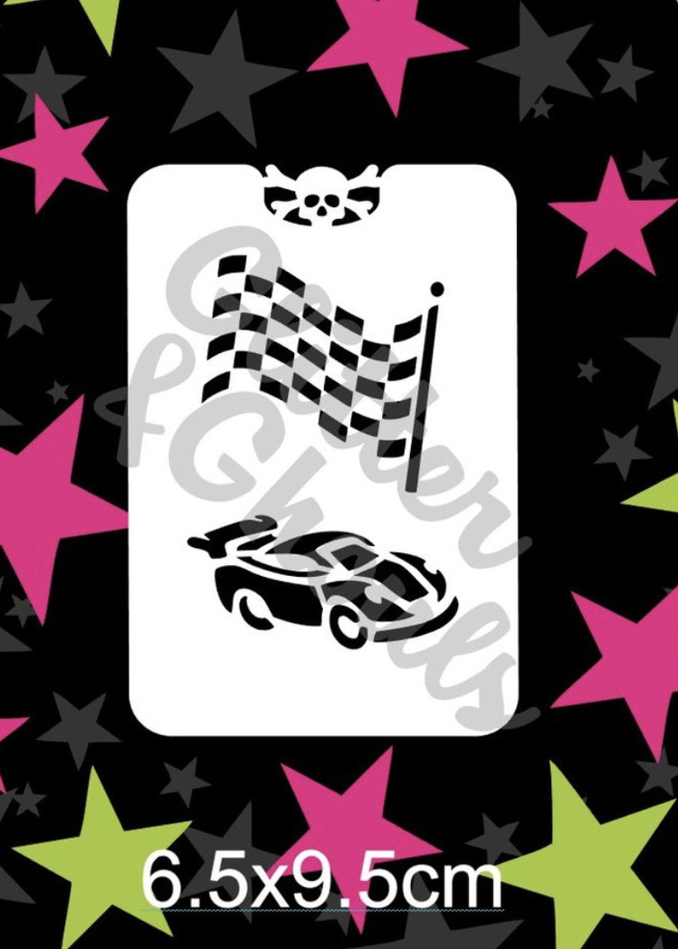 Glitter & Ghouls Race Car & Flag